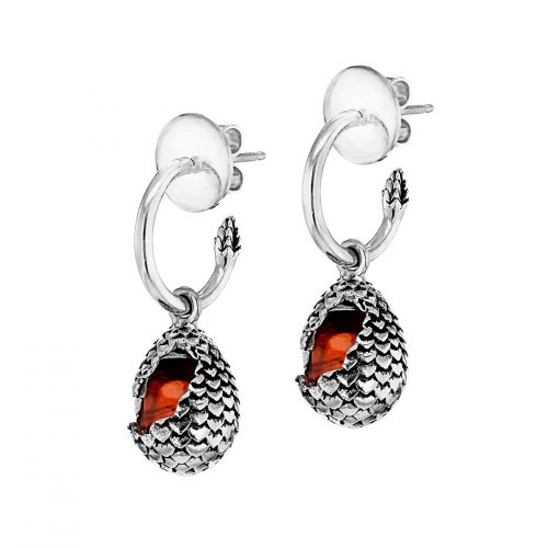 MEY for Game of Thrones Dragonstone Earrings, small eggs, Fire Orange stone, Sterling Silver